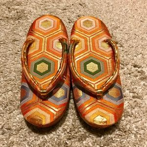Japanese Vintage Kids Kimono Sandals
